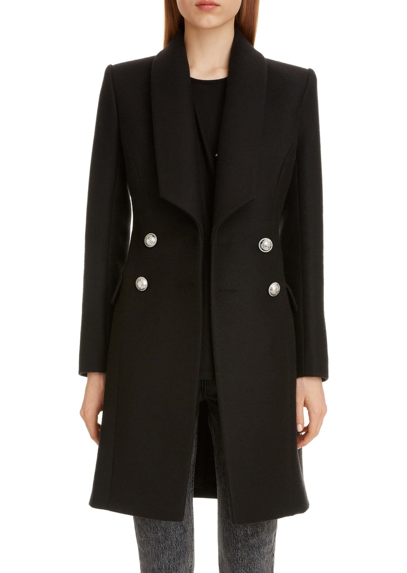 Balmain Shawl Collar Wool & Cashmere Coat