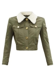 Balmain Shearling-collar cotton-blend canvas jacket