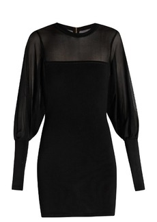Balmain Sheer-detail knitted mini dress
