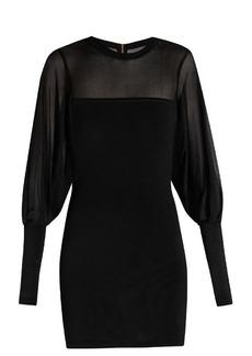 Balmain Sheer-detail knitted mini dress