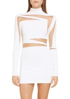 Balmain Sheer Inset Long Sleeve Body-Con Minidress