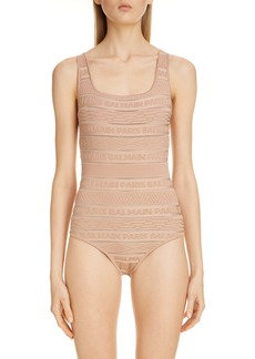 Balmain Sheer Logo Stripe Jacquard Bodysuit