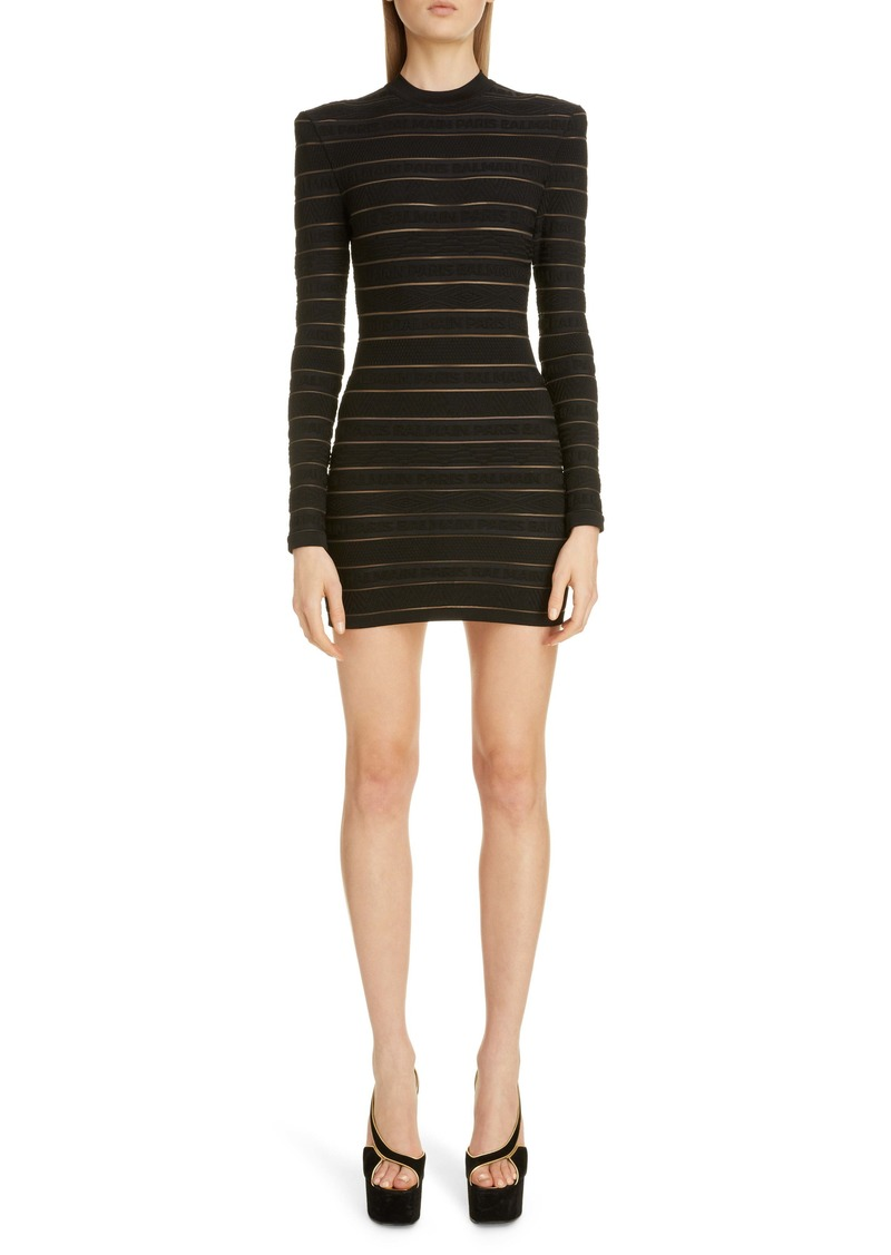 Balmain Sheer Logo Stripe Long Sleeve Sweater Minidress