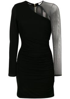 Balmain sheer sleeve mini dress - Black