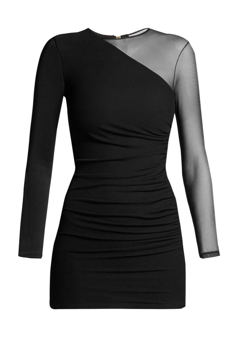 Balmain Sheer-sleeve mini dress