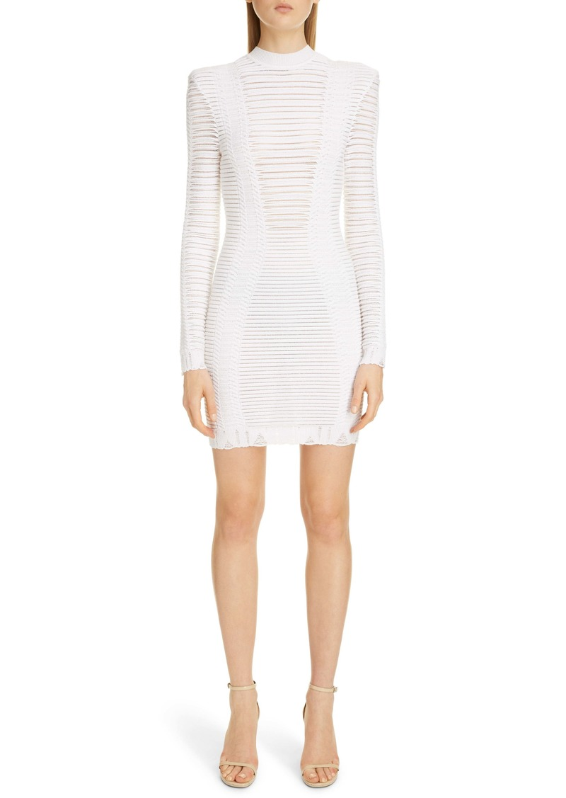 Balmain Sheer Stripe Long Sleeve Sweater Minidress