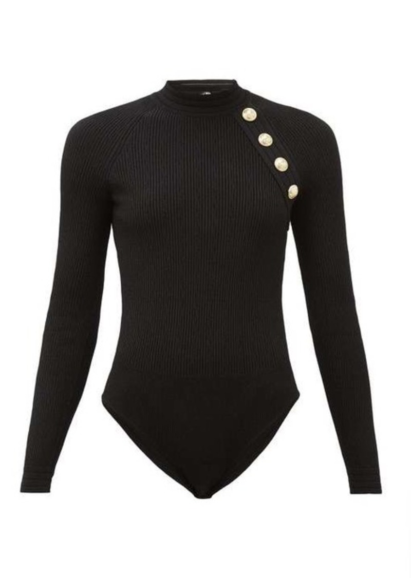 Balmain Shoulder-button ribbed-knit bodysuit