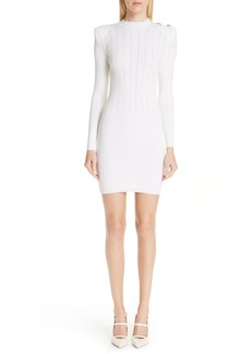 Balmain Shoulder Detail Body-Con Wool Blend Dress