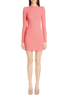 Balmain Shoulder Detail Ribbed Sweater Dress