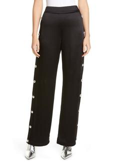 Balmain Side Button High Waist Satin Track Pants