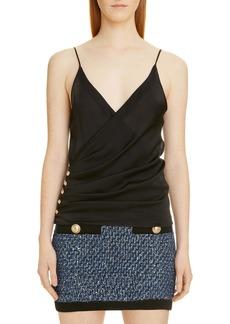 Balmain Side Button Silk Charmeuse Camisole Top