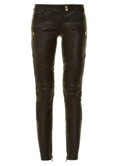 Balmain Skinny-leg leather biker trousers