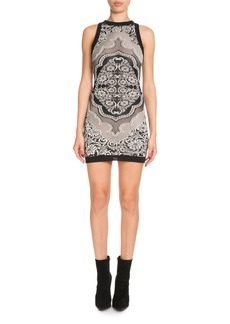 Balmain Sleeveless Baroque Jacquard Short Cocktail Dress