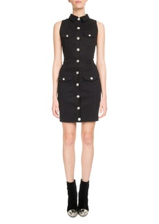 Balmain Sleeveless Button-Front Fitted Denim Dress