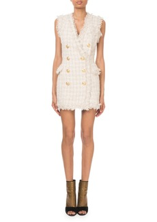 Balmain Sleeveless Checkered Tweed Golden Button Dress