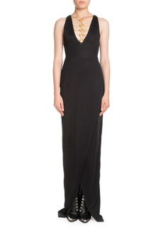 Balmain Sleeveless Coin-Neck Front-Slit Evening Gown