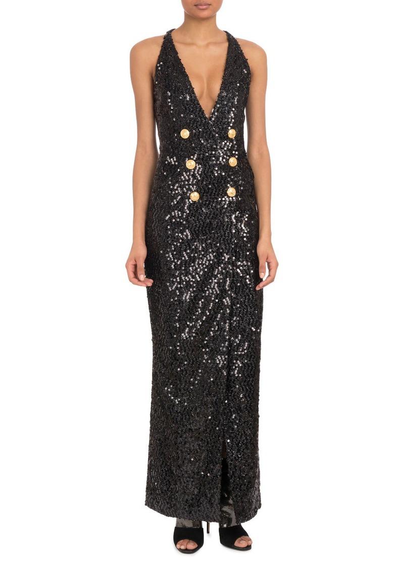 Balmain Sleeveless Deep-V Six-Button Paillettes Sequin Evening Gown