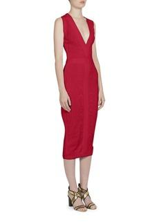 Balmain Sleeveless Jacquard V-Neck Dress