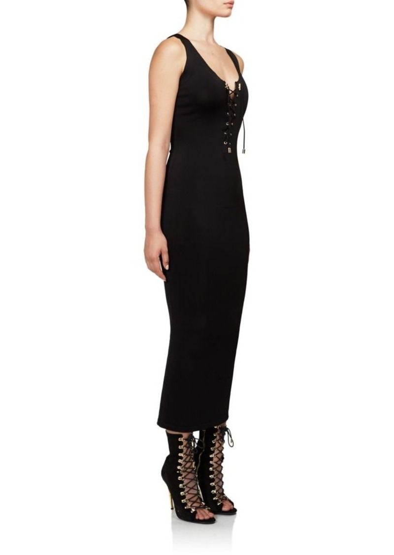 Balmain Sleeveless Lace-Up Dress