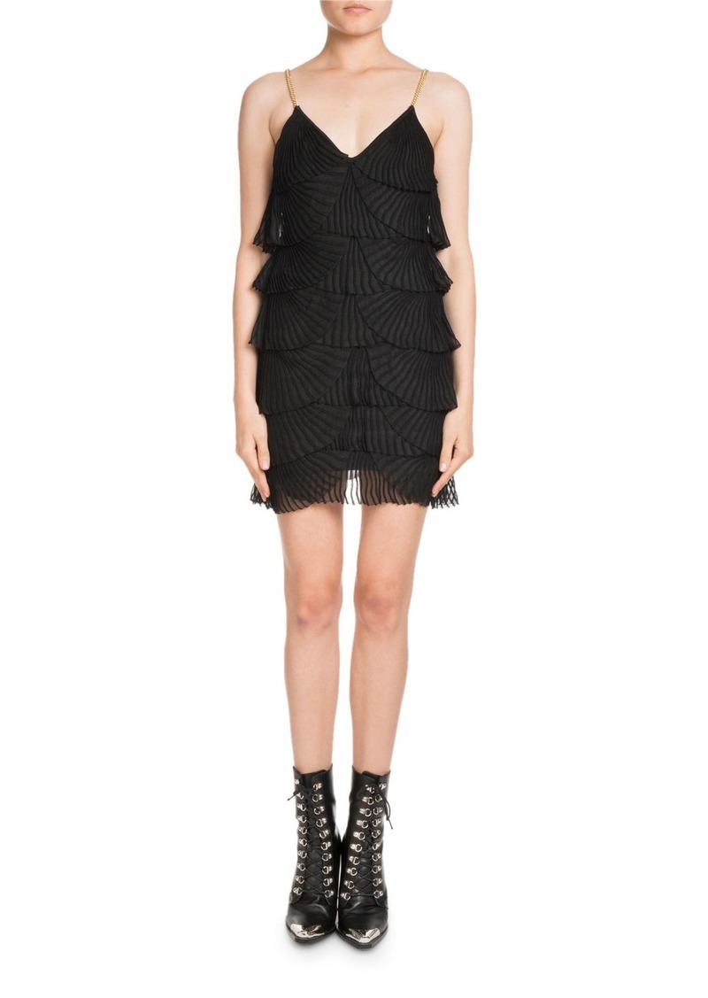 Balmain Sleeveless Layered Plisse Tank Mini Dress