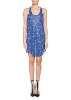 Balmain Sleeveless Scoop-Neck Crystal Embellished Linen Dress