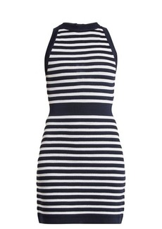 Balmain Sleeveless striped-knit dress