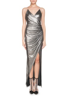 Balmain Sleeveless V-Neck Chain-Strap Strass Wrap Evening Gown