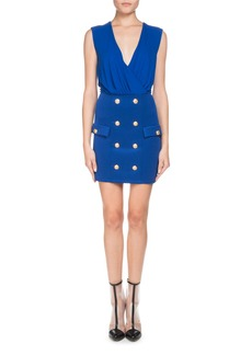 Balmain Sleeveless V-Neck Mini Cocktail Dress with Button-Details