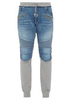 Balmain Slim-fit denim and jersey biker sweat pants