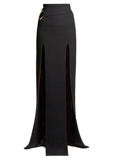 Balmain Slit-front crepe maxi skirt