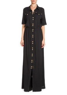 Balmain Snap-Front Cotton Shirtdress with Golden Buttons
