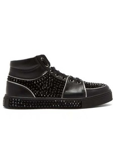 Balmain Strass high-top leather trainers