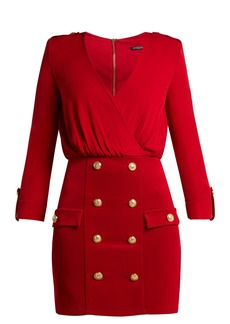 Balmain Stretch-knit V-neck mini dress