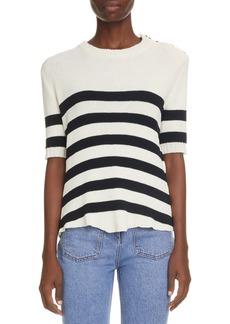 Balmain Stripe Button Shoulder Sweater