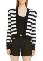 Balmain Stripe Crop Cardigan Jacket