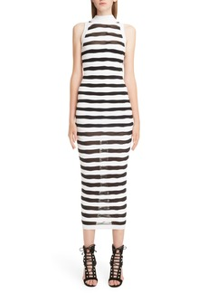 Balmain Stripe Knit Midi Dress