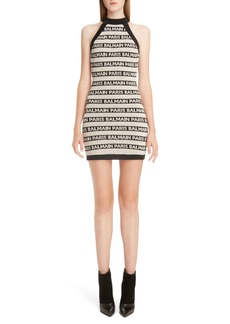 Balmain Stripe Logo Minidress