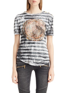 Balmain Stripe Print Button Shoulder Tee