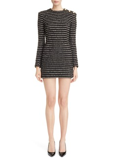 Balmain Stripe Tweed Minidress
