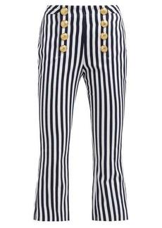 Balmain Striped cotton-twill kick-flare trousers
