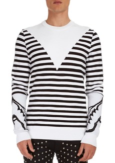 Balmain Striped Crewneck Sweater