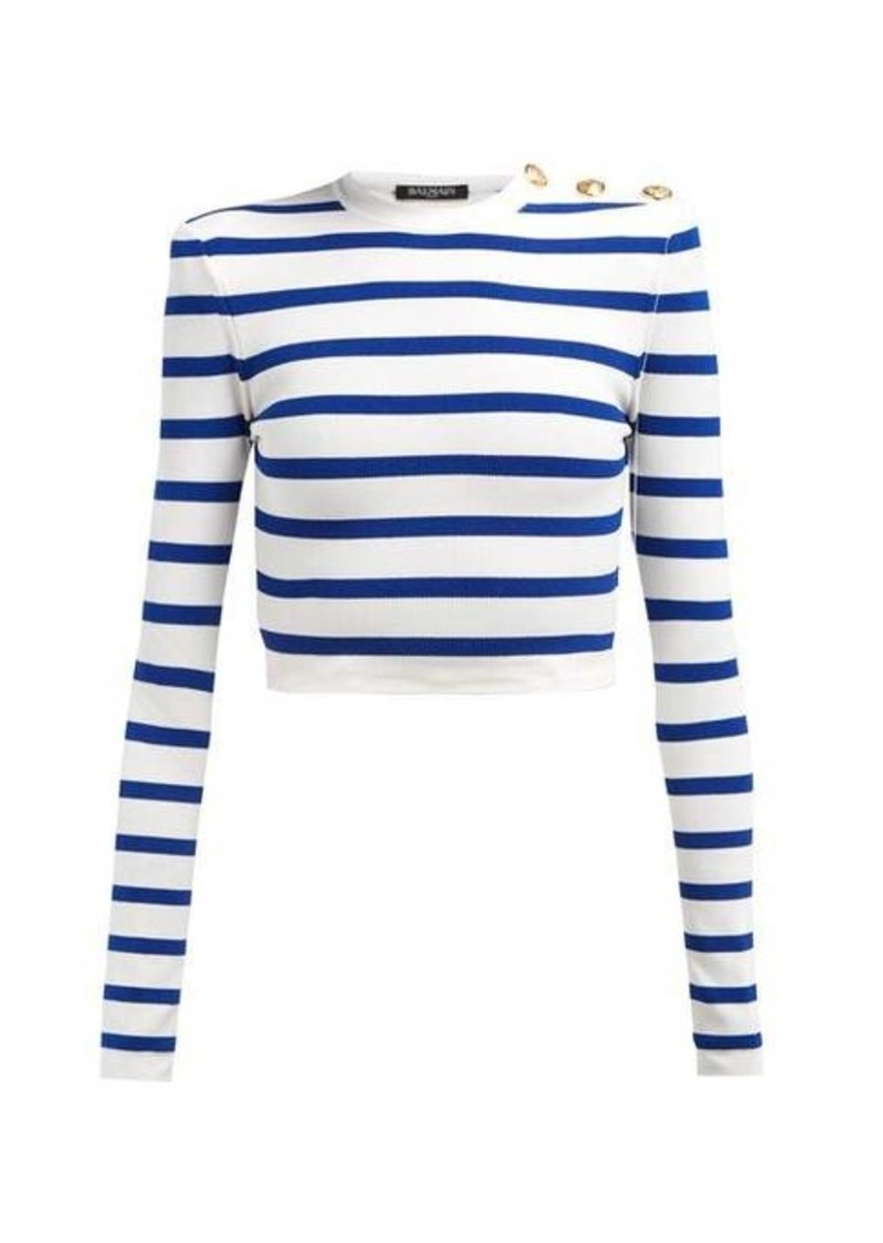 Balmain Striped cropped top