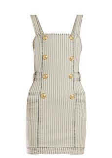 Balmain Striped denim mini dress