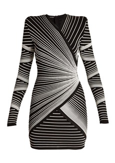 Balmain Striped-knit wrap-style mini dress