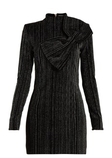 Balmain Striped Lurex cotton-blend mini dress