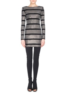 Balmain Striped Metallic Mini Dress  Black Pattern