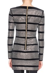 Balmain Striped Metallic Mini Dress  Black Pattern