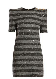 Balmain Striped metallic-tweed mini dress