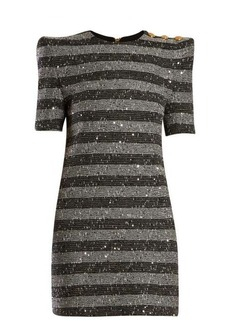 Balmain Striped metallic-tweed mini dress