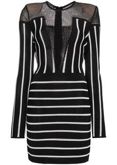 Balmain Striped mini dress with mesh detail - Black